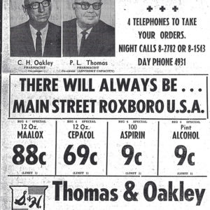 Thomas & Oakley advertisement, 1960s