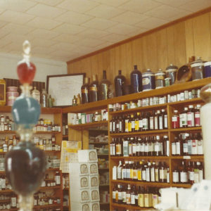 Wall display at Thomas Drugs in Shallotte, NC. 1970s