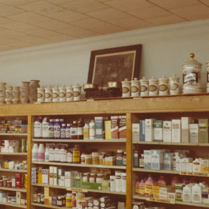 Wall display in Thomas Drugs in Shallotte, NC. 1970s