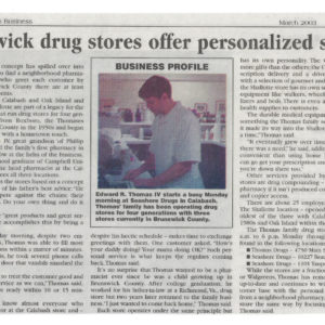 Brunswick Beacon newspaper feature of Edward R. Thomas IV at Seashore Drugs store in Calabash, NC. 2003