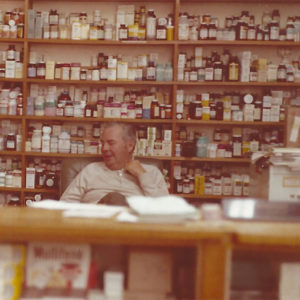 Phillip Langston Thomas at Thomas Drugs in Shallotte, NC. 1970s