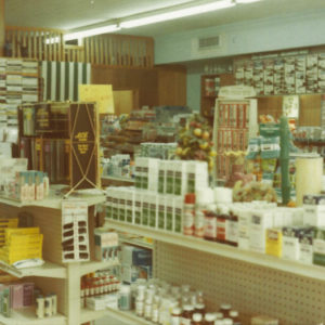 Store interior at Thomas Drugs in Shallotte, NC. 1970s