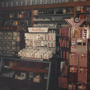 Make-up counter display at Thomas Drugs in Shallotte, NC. 1970s