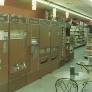 Store interior at Thomas Drugs in Shallotte, NC. 1980s